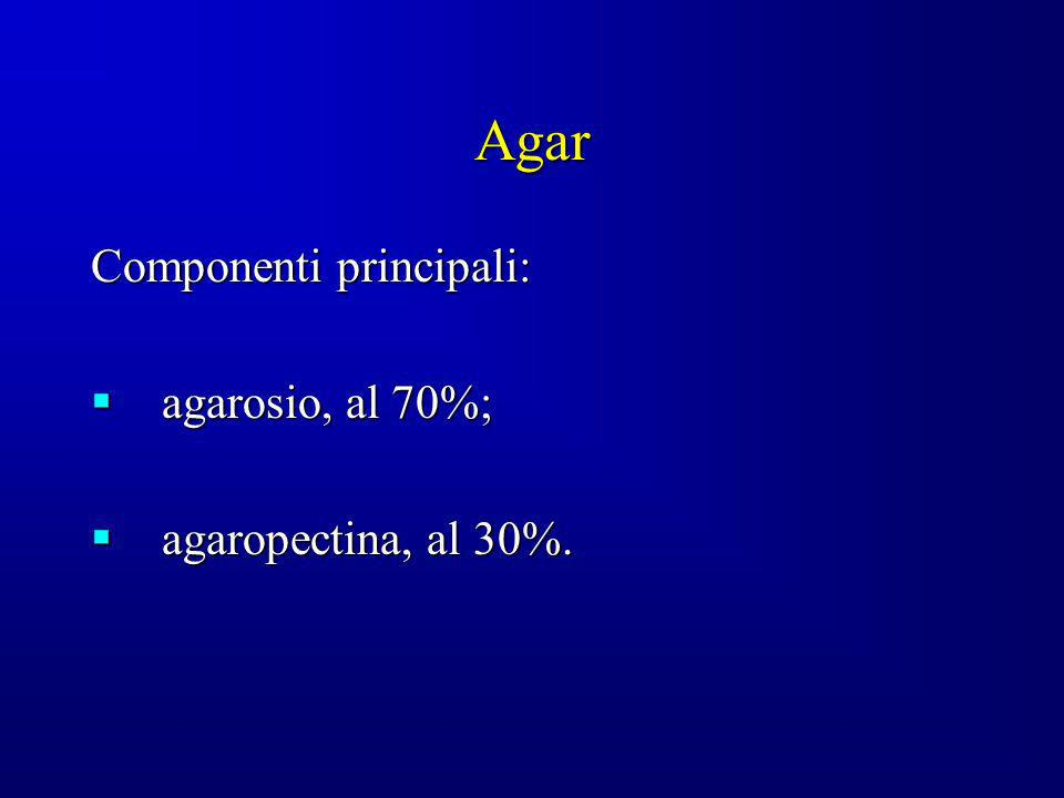 Agar Componenti principali: agarosio, al 70%; agaropectina, al 30%.