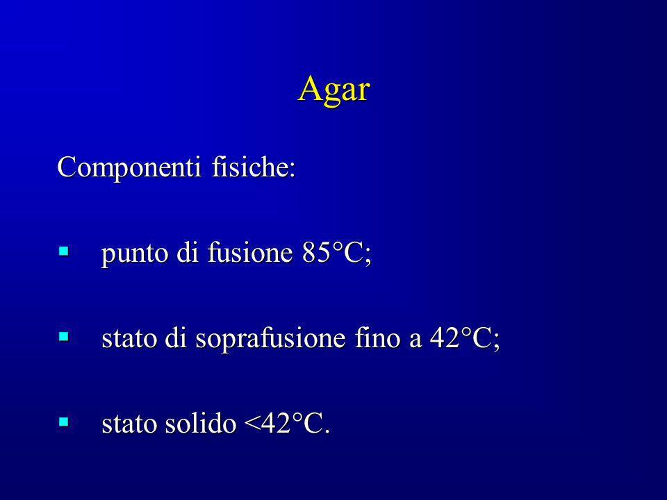 Agar Componenti fisiche: punto di fusione 85°C;