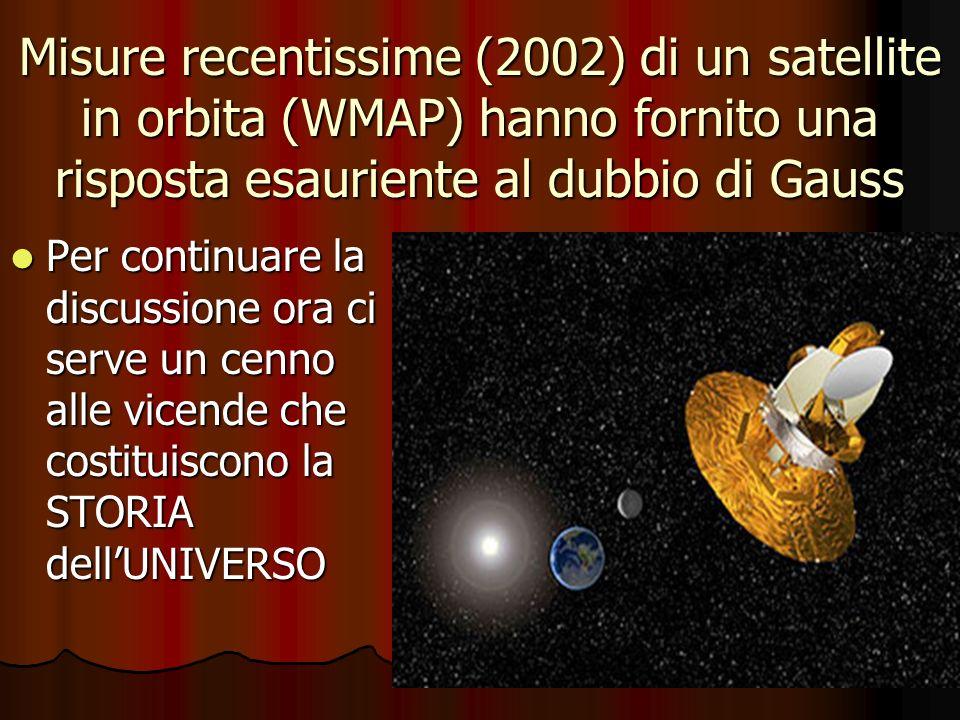 Misure recentissime (2002) di un satellite in orbita (WMAP) hanno fornito una risposta esauriente al dubbio di Gauss