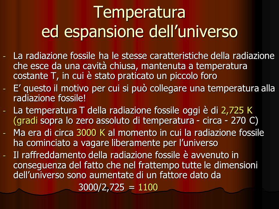 Temperatura ed espansione dell'universo