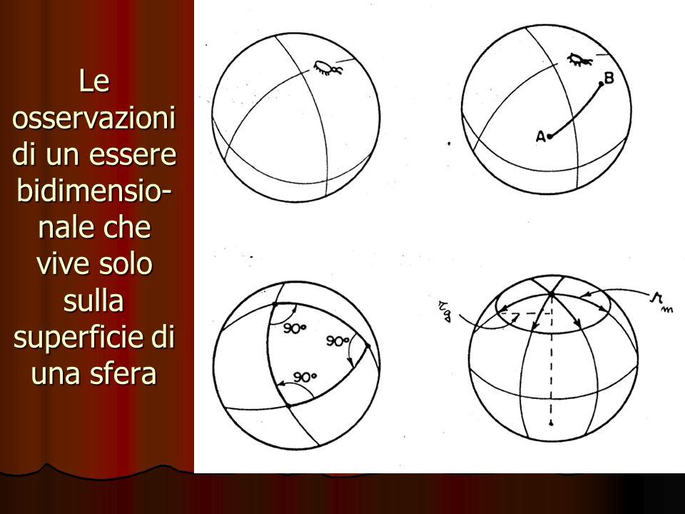 Le osservazioni di un essere bidimensio-nale che vive solo sulla superficie di una sfera