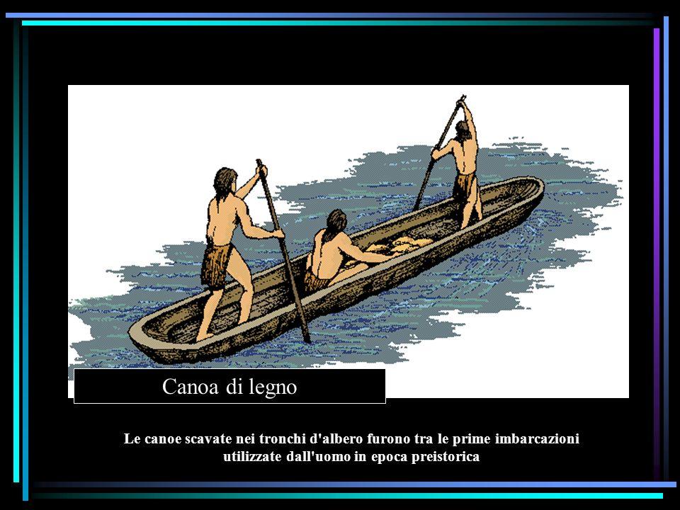 Canoa di legno Le canoe scavate nei tronchi d albero furono tra le prime imbarcazioni utilizzate dall uomo in epoca preistorica.