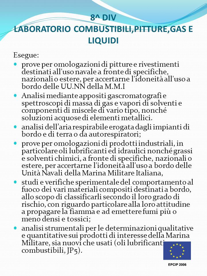 8^ DIV LABORATORIO COMBUSTIBILI,PITTURE,GAS E LIQUIDI