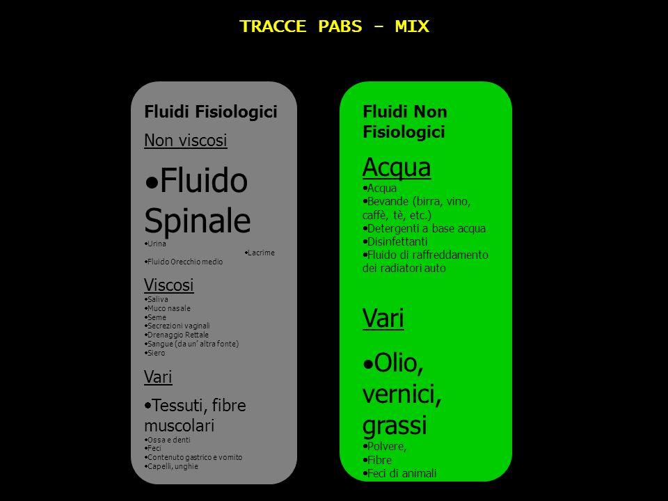 Fluido Spinale Acqua Vari Olio, vernici, grassi TRACCE PABS - MIX