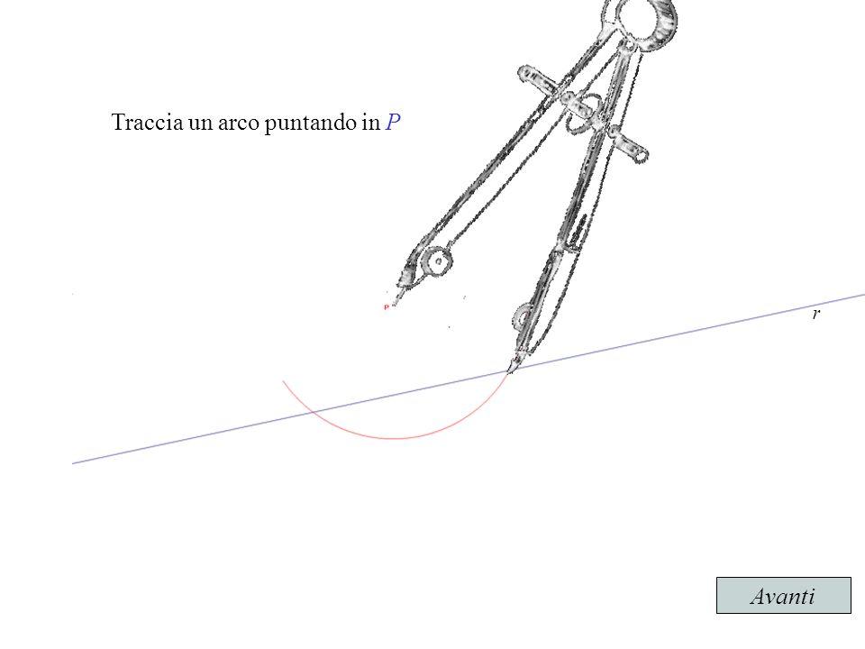 Traccia un arco puntando in P