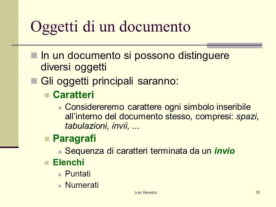 Oggetti di un documento