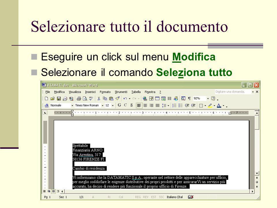 Selezionare tutto il documento
