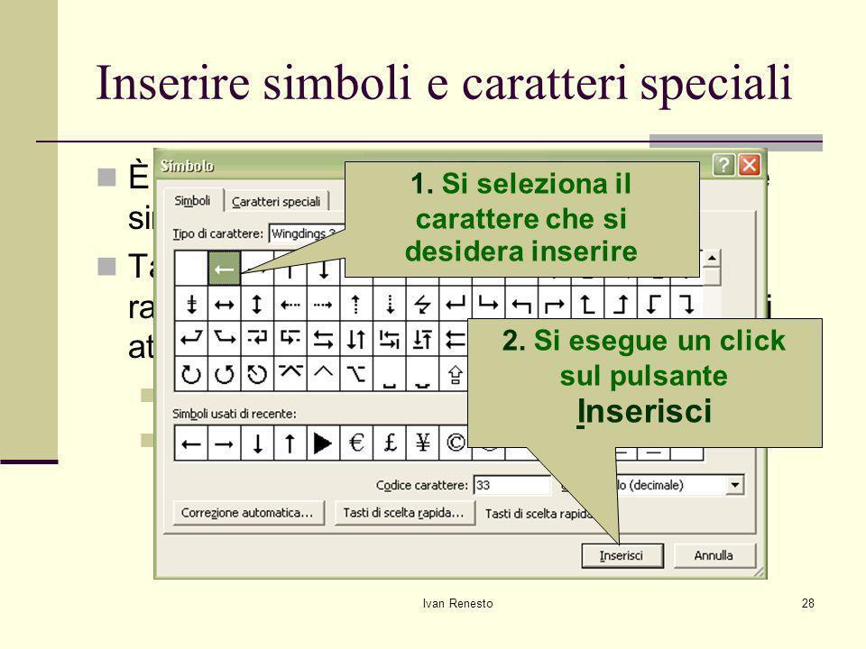 Inserire simboli e caratteri speciali