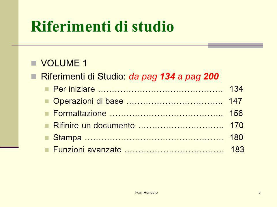 Riferimenti di studio VOLUME 1