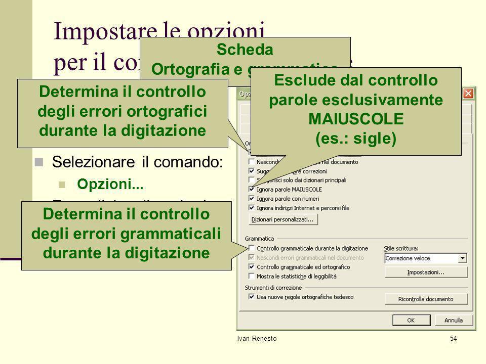 Impostare le opzioni per il controllo grammaticale