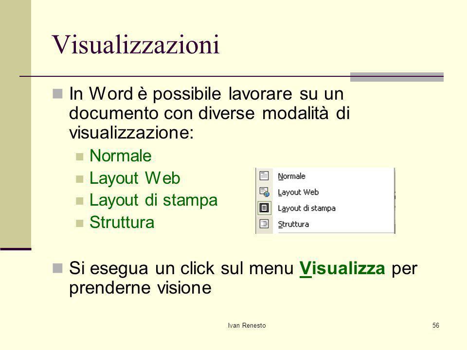 Visualizzazioni In Word è possibile lavorare su un documento con diverse modalità di visualizzazione: