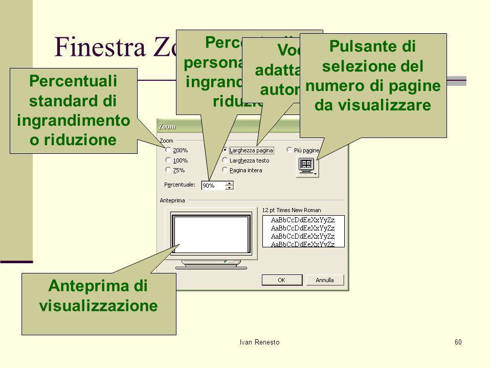 Finestra Zoom Percentuali personalizzate di ingrandimento o riduzione