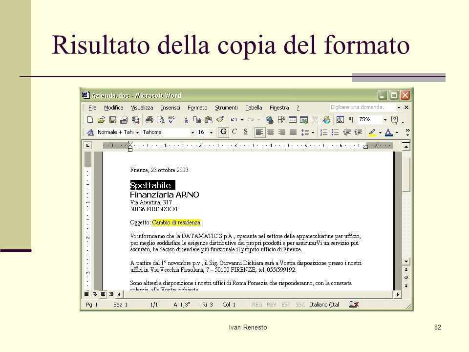 Risultato della copia del formato