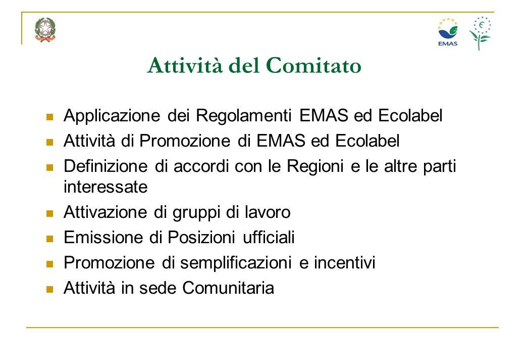 Attività del Comitato Applicazione dei Regolamenti EMAS ed Ecolabel