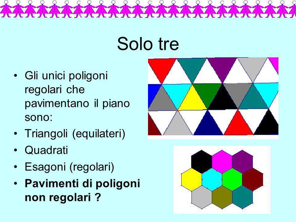 Solo tre Gli unici poligoni regolari che pavimentano il piano sono: