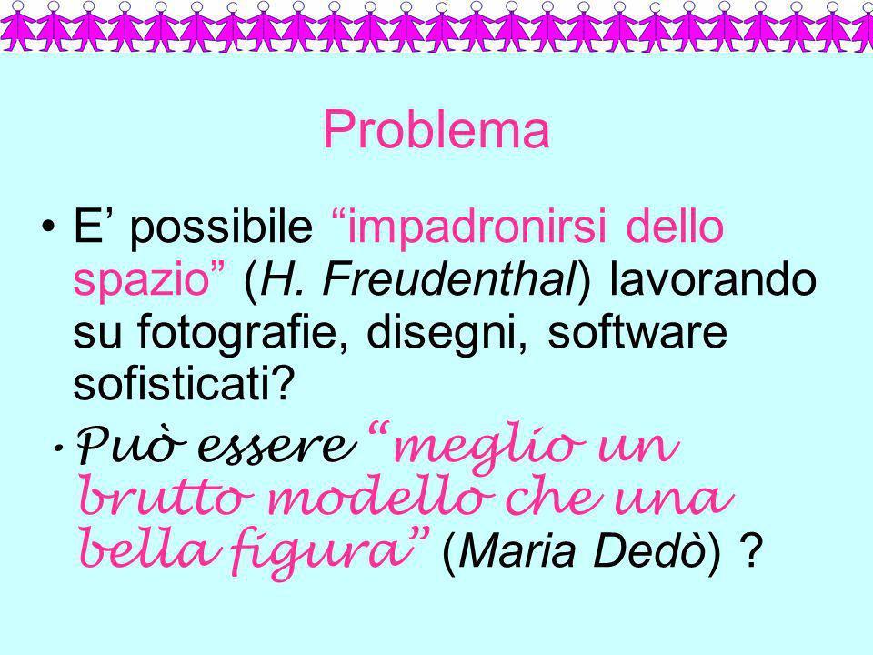 Problema E' possibile impadronirsi dello spazio (H. Freudenthal) lavorando su fotografie, disegni, software sofisticati