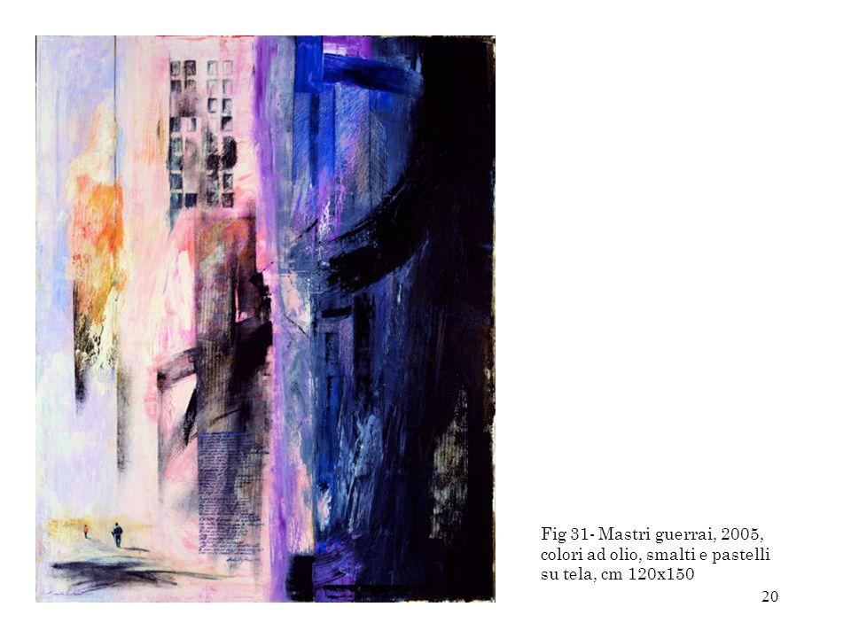 Fig 31- Mastri guerrai, 2005, colori ad olio, smalti e pastelli su tela, cm 120x150