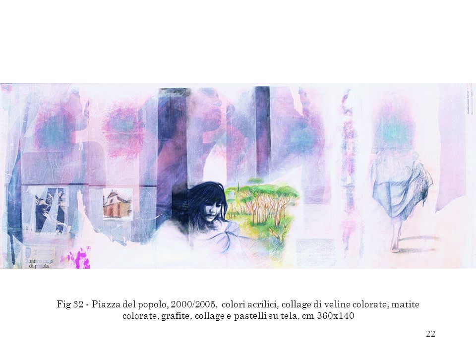 Fig 32 - Piazza del popolo, 2000/2005, colori acrilici, collage di veline colorate, matite colorate, grafite, collage e pastelli su tela, cm 360x140