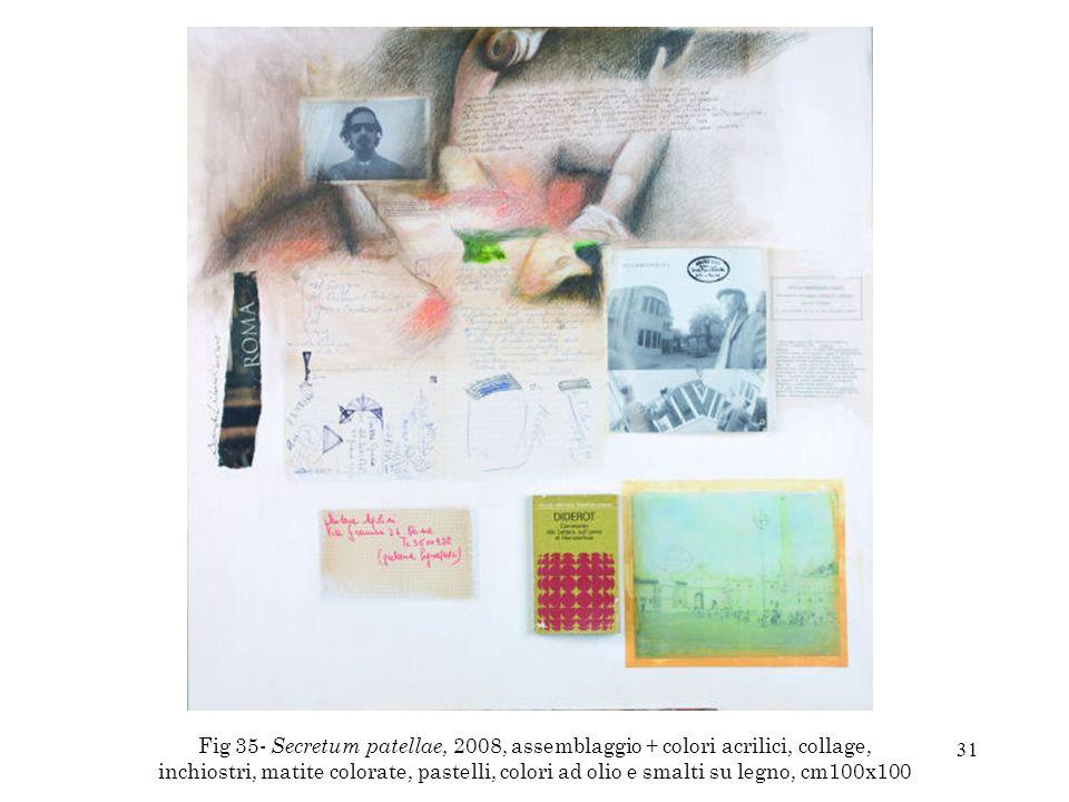 Fig 35- Secretum patellae, 2008, assemblaggio + colori acrilici, collage, inchiostri, matite colorate, pastelli, colori ad olio e smalti su legno, cm100x100