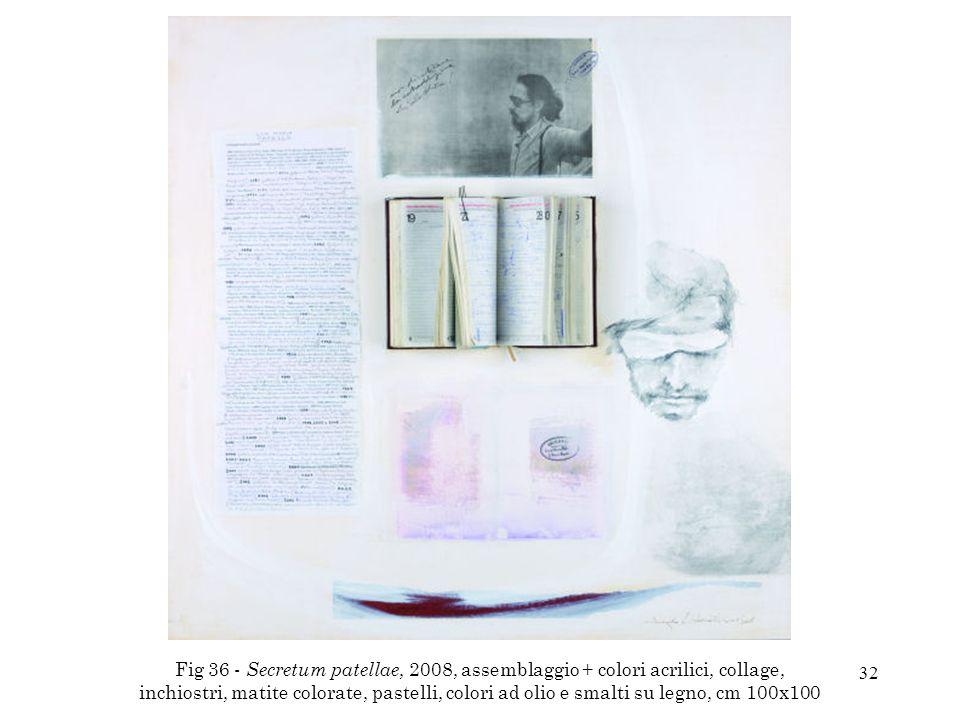 Fig 36 - Secretum patellae, 2008, assemblaggio + colori acrilici, collage, inchiostri, matite colorate, pastelli, colori ad olio e smalti su legno, cm 100x100