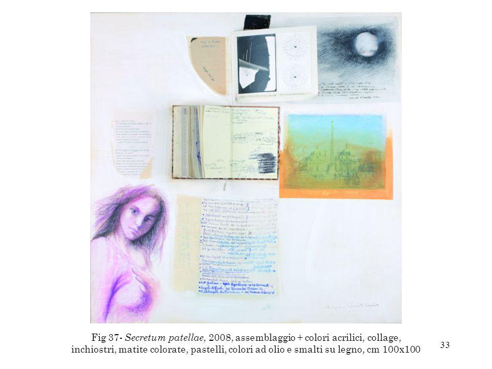 Fig 37- Secretum patellae, 2008, assemblaggio + colori acrilici, collage, inchiostri, matite colorate, pastelli, colori ad olio e smalti su legno, cm 100x100