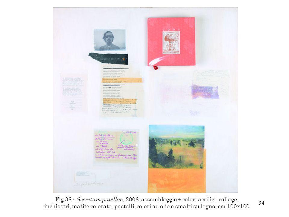 Fig 38 - Secretum patellae, 2008, assemblaggio + colori acrilici, collage, inchiostri, matite colorate, pastelli, colori ad olio e smalti su legno, cm 100x100