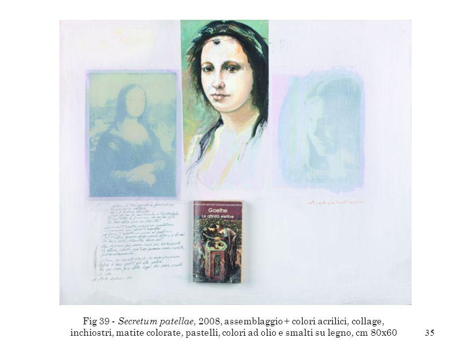 Fig 39 - Secretum patellae, 2008, assemblaggio + colori acrilici, collage, inchiostri, matite colorate, pastelli, colori ad olio e smalti su legno, cm 80x60