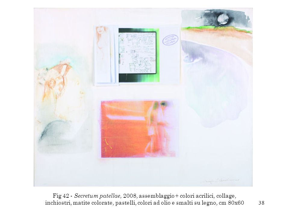 Fig 42 - Secretum patellae, 2008, assemblaggio + colori acrilici, collage, inchiostri, matite colorate, pastelli, colori ad olio e smalti su legno, cm 80x60