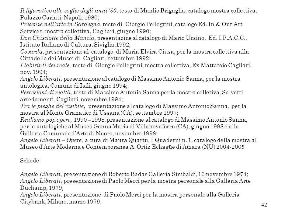 Il figurativo alle soglie degli anni 80, testo di Manlio Brigaglia, catalogo mostra collettiva, Palazzo Cariati, Napoli, 1980;