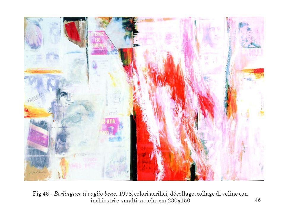 Fig 46 - Berlinguer ti voglio bene, 1998, colori acrilici, décollage, collage di veline con inchiostri e smalti su tela, cm 230x150