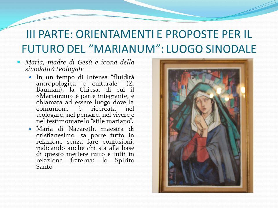 III PARTE: ORIENTAMENTI E PROPOSTE PER IL FUTURO DEL MARIANUM : LUOGO SINODALE