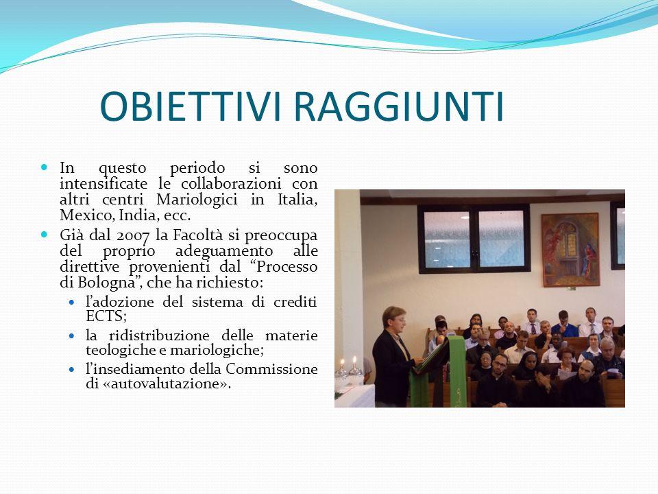 OBIETTIVI RAGGIUNTI In questo periodo si sono intensificate le collaborazioni con altri centri Mariologici in Italia, Mexico, India, ecc.