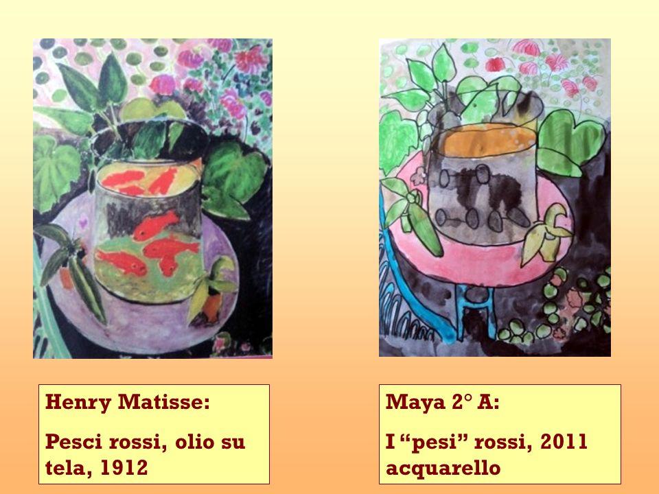 Henry Matisse: Pesci rossi, olio su tela, 1912 Maya 2° A: I pesi rossi, 2011 acquarello