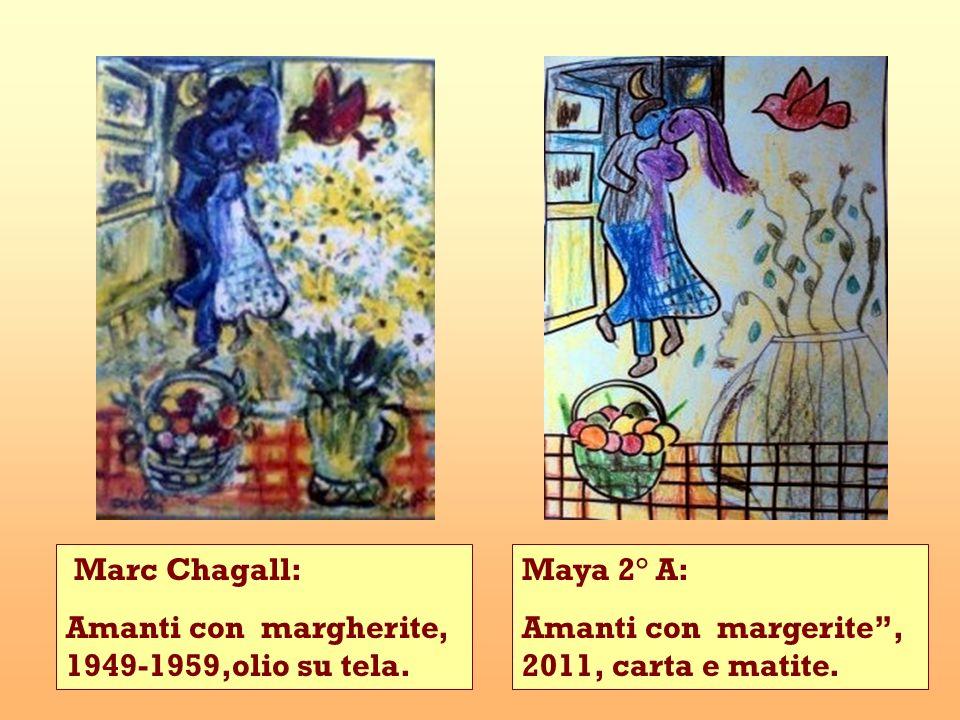 Marc Chagall:Amanti con margherite, 1949-1959,olio su tela.