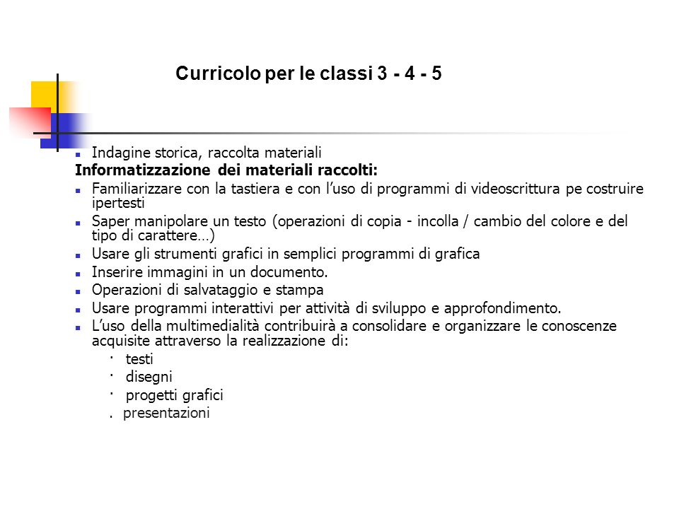 Curricolo per le classi 3 - 4 - 5