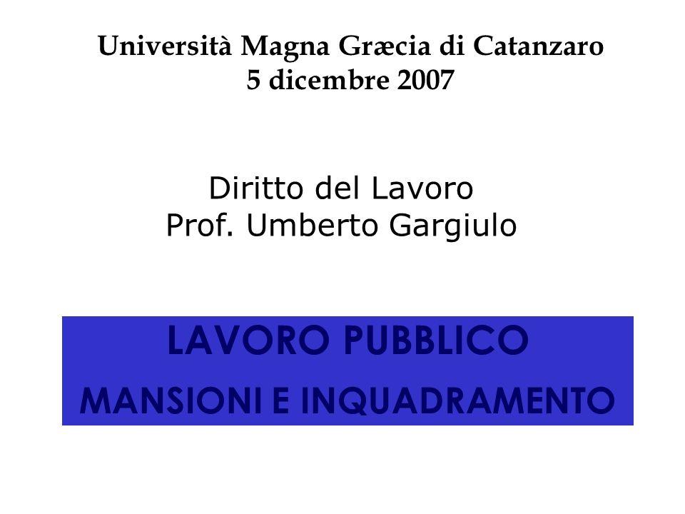 Università Magna Græcia di Catanzaro MANSIONI E INQUADRAMENTO