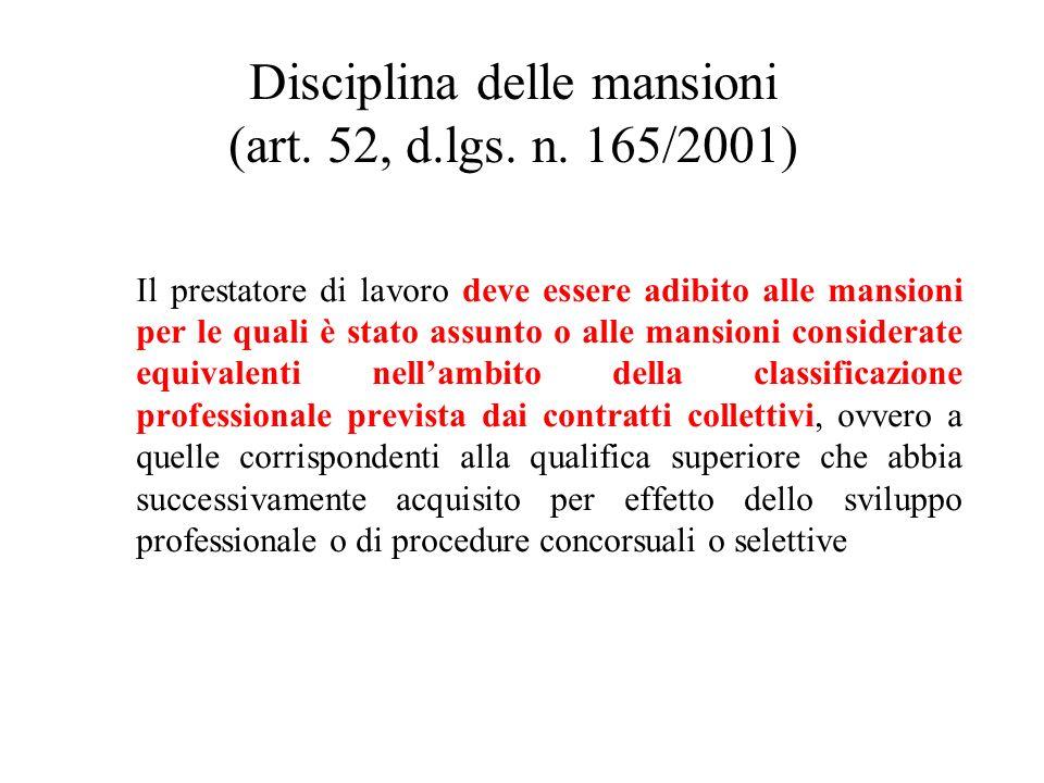 Disciplina delle mansioni (art. 52, d.lgs. n. 165/2001)