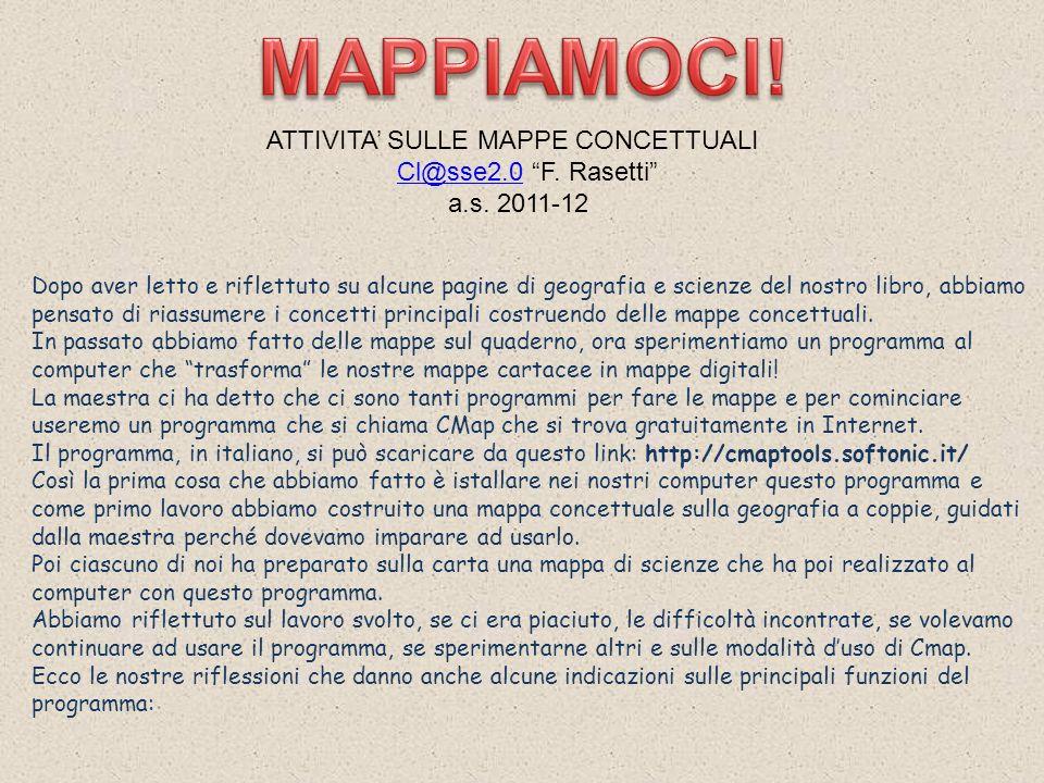 MAPPIAMOCI! ATTIVITA' SULLE MAPPE CONCETTUALI Cl@sse2.0 F. Rasetti a.s. 2011-12.