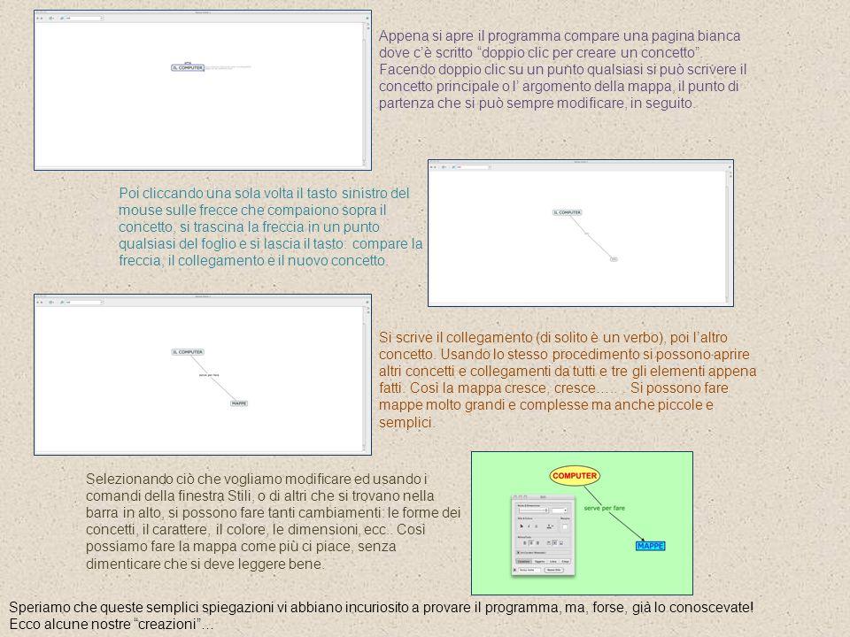 Appena si apre il programma compare una pagina bianca dove c'è scritto doppio clic per creare un concetto . Facendo doppio clic su un punto qualsiasi si può scrivere il concetto principale o l' argomento della mappa, il punto di partenza che si può sempre modificare, in seguito.