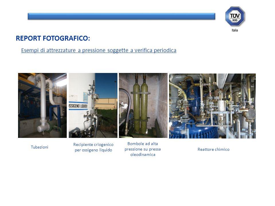 REPORT FOTOGRAFICO: Esempi di attrezzature a pressione soggette a verifica periodica. Tubazioni. Recipiente criogenico per ossigeno liquido.