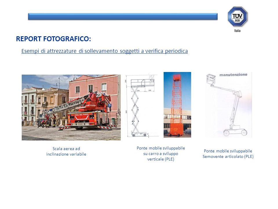REPORT FOTOGRAFICO: Esempi di attrezzature di sollevamento soggetti a verifica periodica. Scala aerea ad inclinazione variabile.