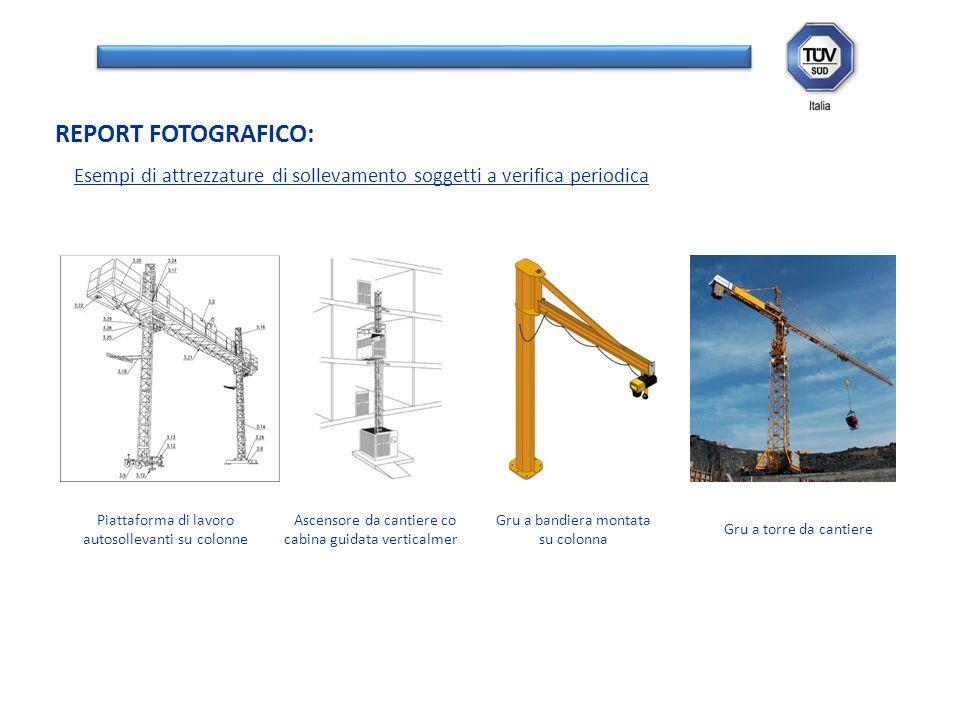 REPORT FOTOGRAFICO: Esempi di attrezzature di sollevamento soggetti a verifica periodica. Piattaforma di lavoro autosollevanti su colonne.