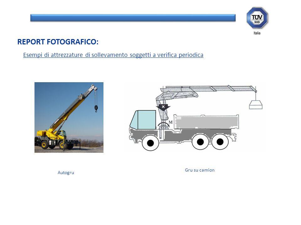 REPORT FOTOGRAFICO: Esempi di attrezzature di sollevamento soggetti a verifica periodica. Gru su camion.