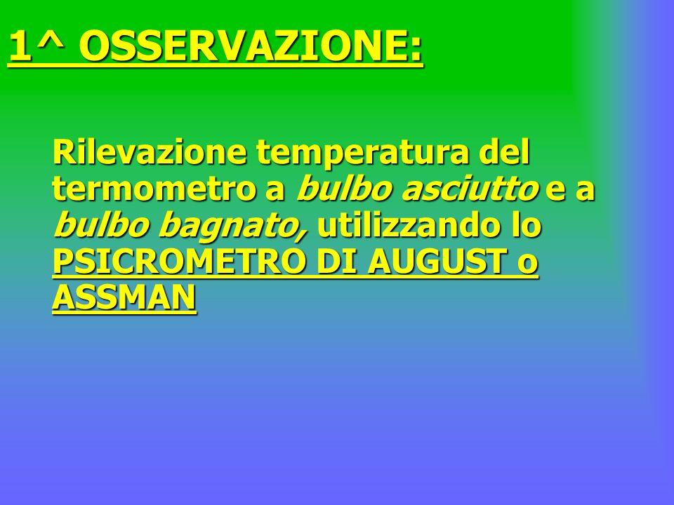 1^ OSSERVAZIONE: Rilevazione temperatura del termometro a bulbo asciutto e a bulbo bagnato, utilizzando lo PSICROMETRO DI AUGUST o ASSMAN.
