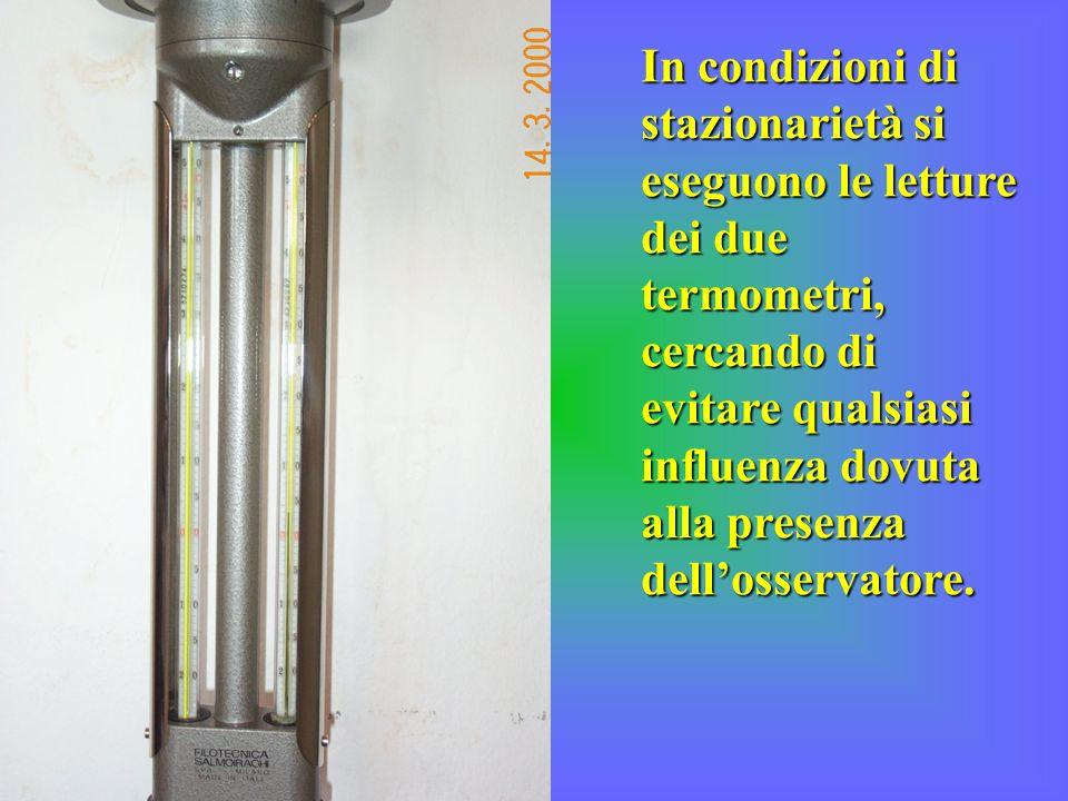 In condizioni di stazionarietà si eseguono le letture dei due termometri, cercando di evitare qualsiasi influenza dovuta alla presenza dell'osservatore.