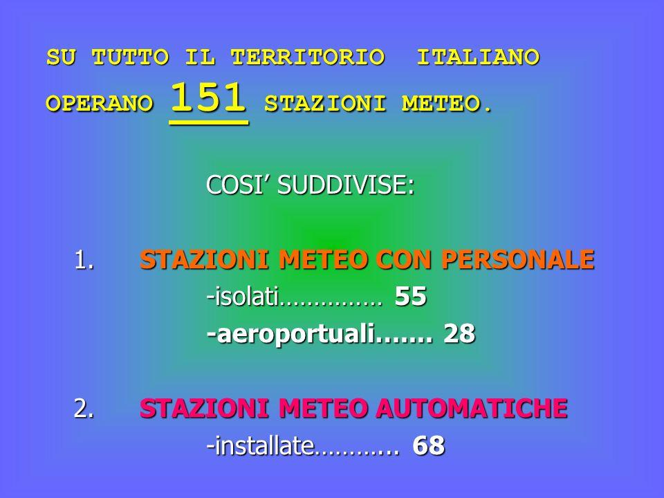 SU TUTTO IL TERRITORIO ITALIANO OPERANO 151 STAZIONI METEO.