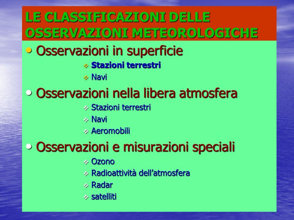 LE CLASSIFICAZIONI DELLE OSSERVAZIONI METEOROLOGICHE
