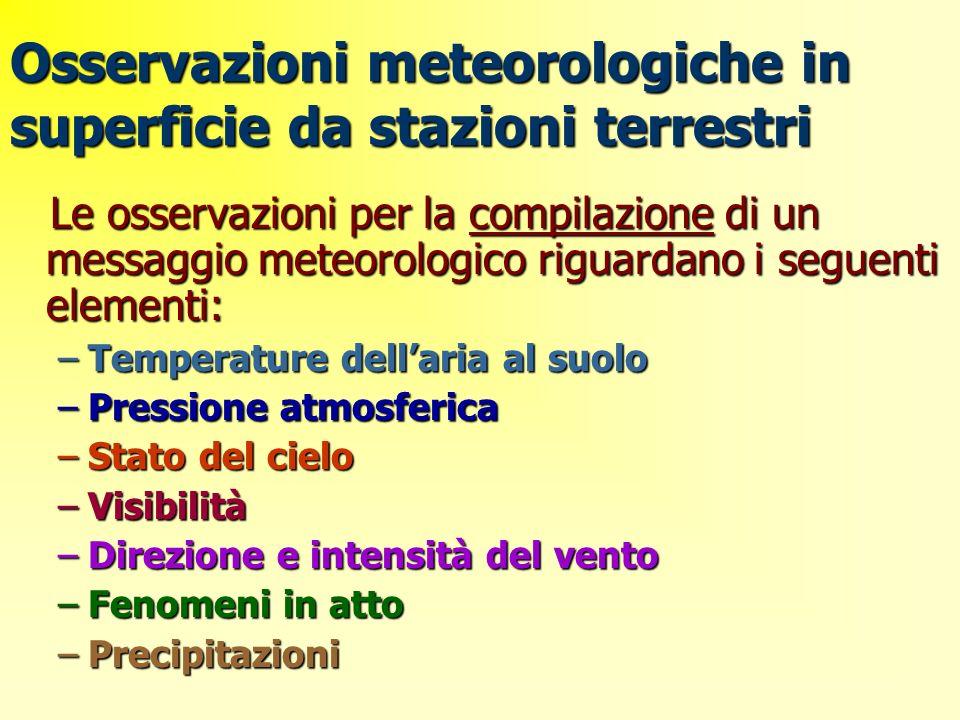 Osservazioni meteorologiche in superficie da stazioni terrestri