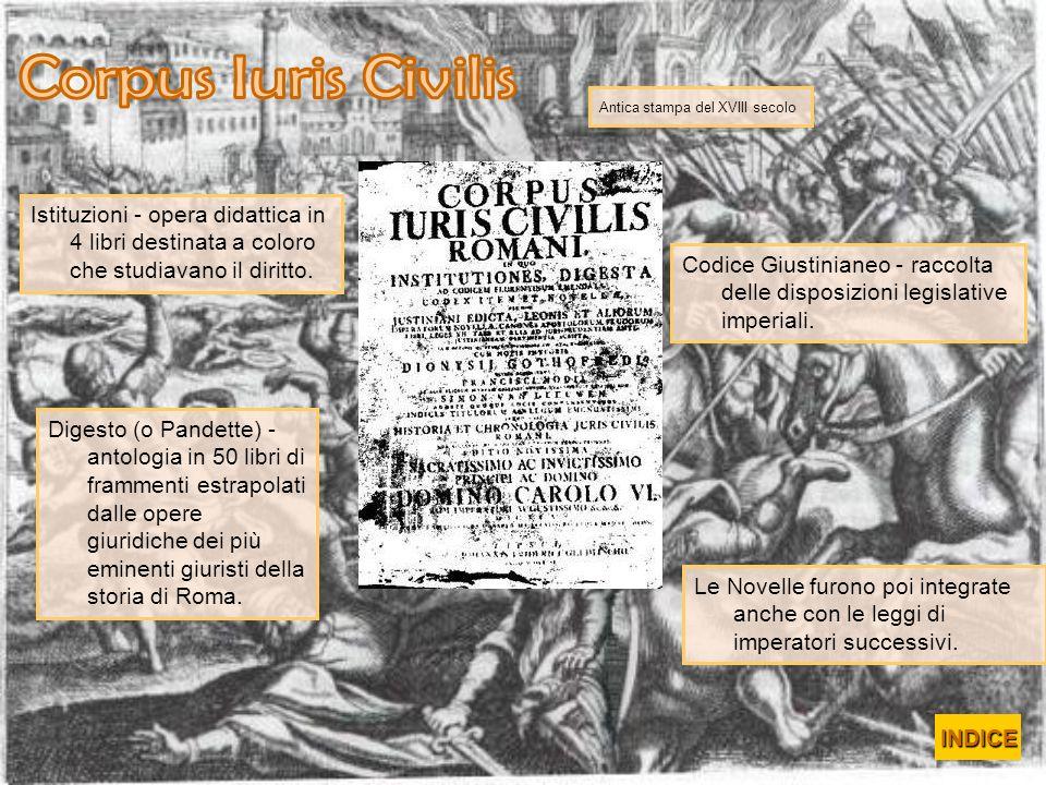 Corpus Iuris Civilis Antica stampa del XVIII secolo. Istituzioni - opera didattica in 4 libri destinata a coloro che studiavano il diritto.
