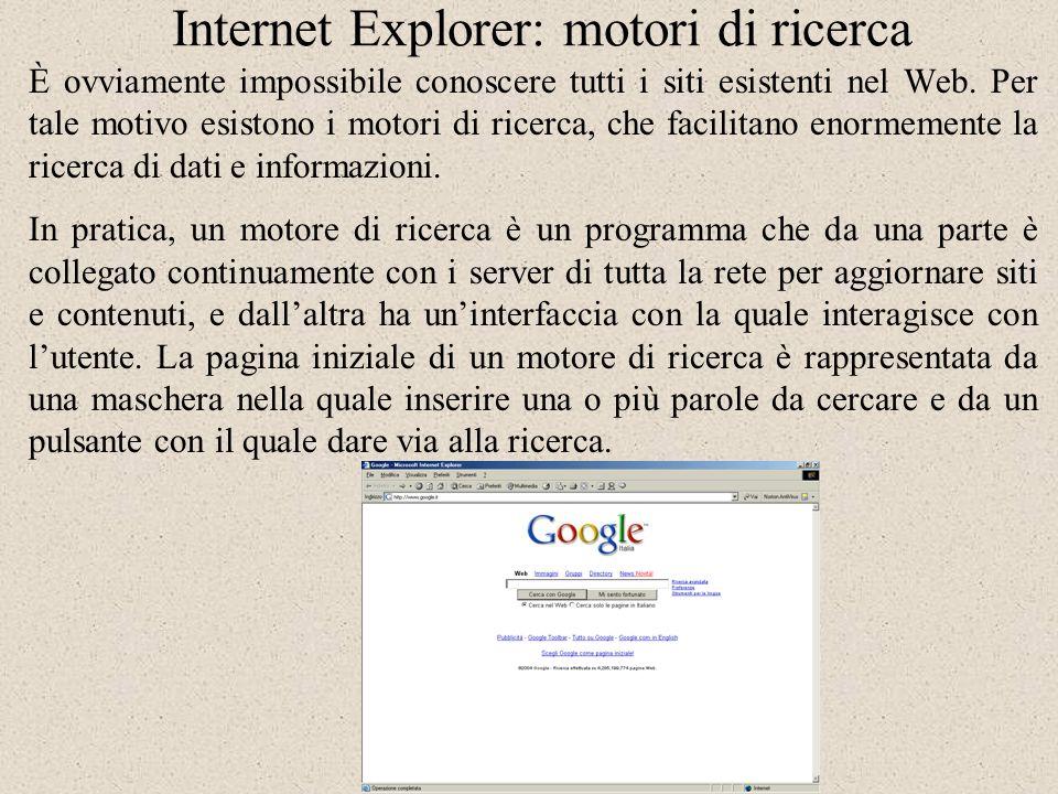Internet Explorer: motori di ricerca